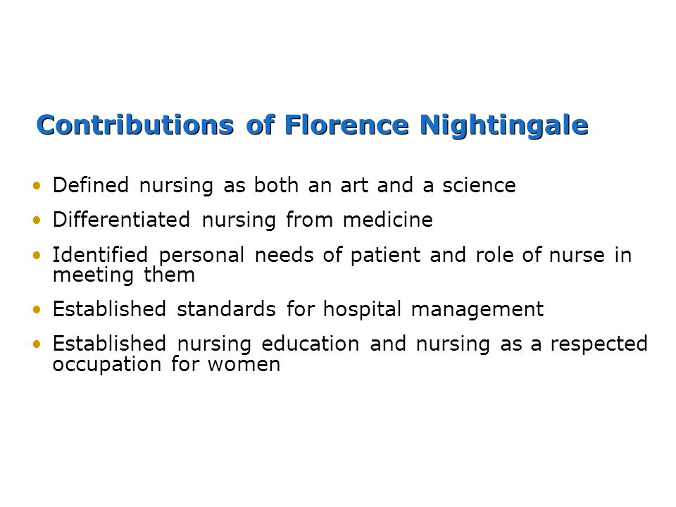 Contributions of Florence Nightingale