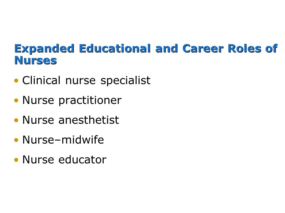Expanded Educational and Career Roles of Nurses