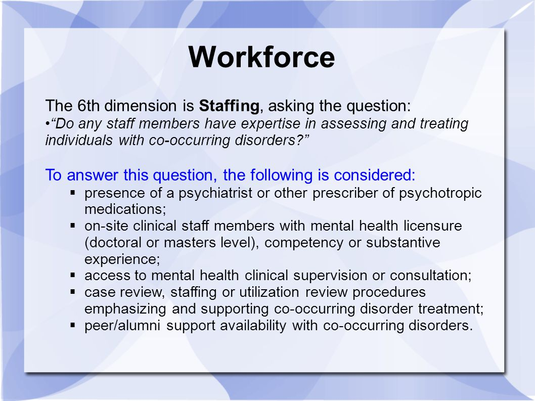 Workforce The 6th dimension is Staffing, asking the question: