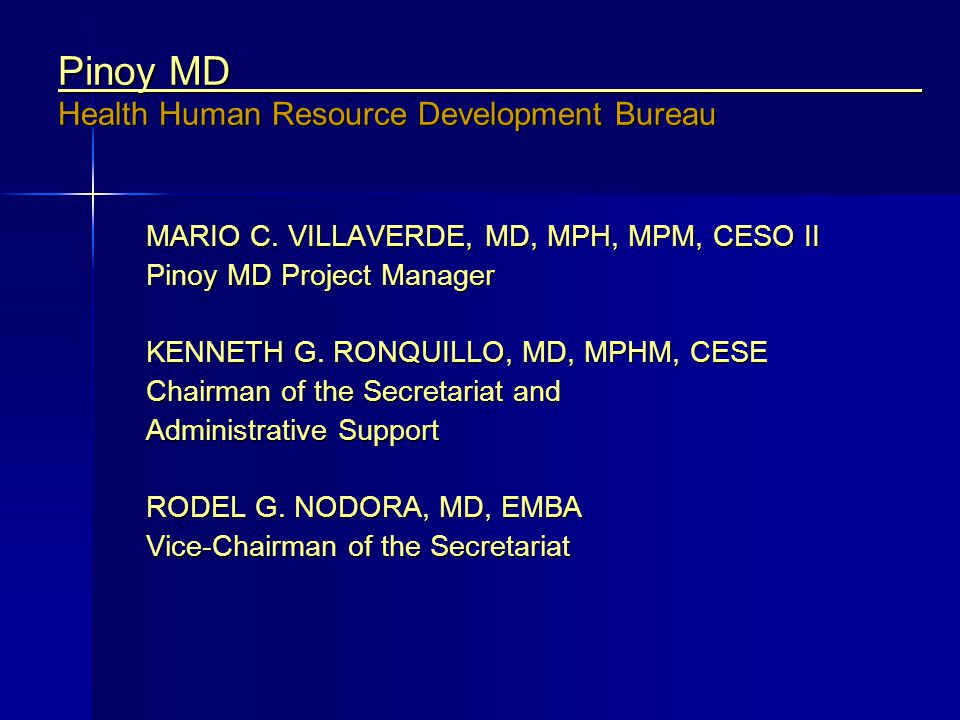 Pinoy MD Health Human Resource Development Bureau