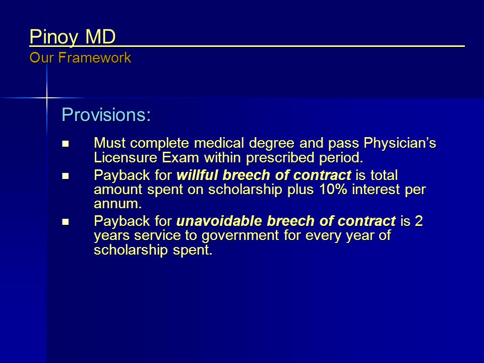 Pinoy MD Our Framework Provisions: