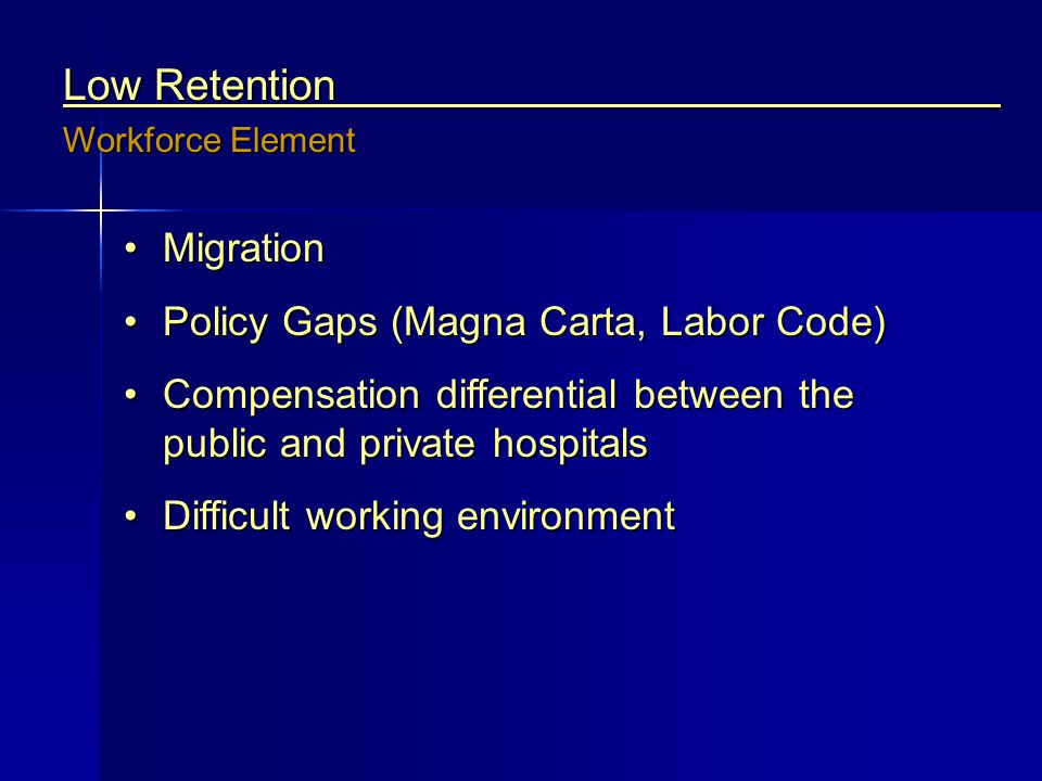 Low Retention Migration Policy Gaps (Magna Carta, Labor Code)