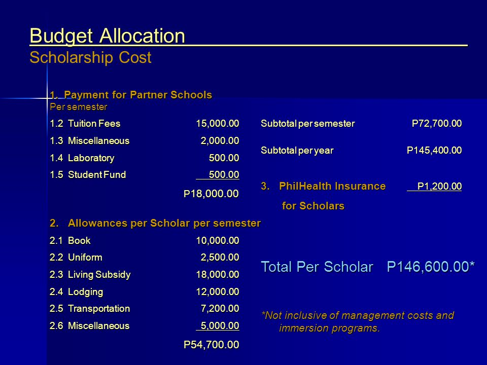 Budget Allocation Scholarship Cost
