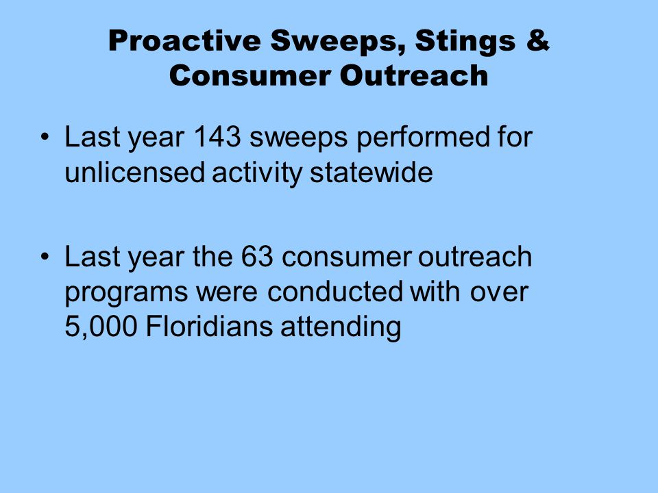 Proactive Sweeps, Stings & Consumer Outreach