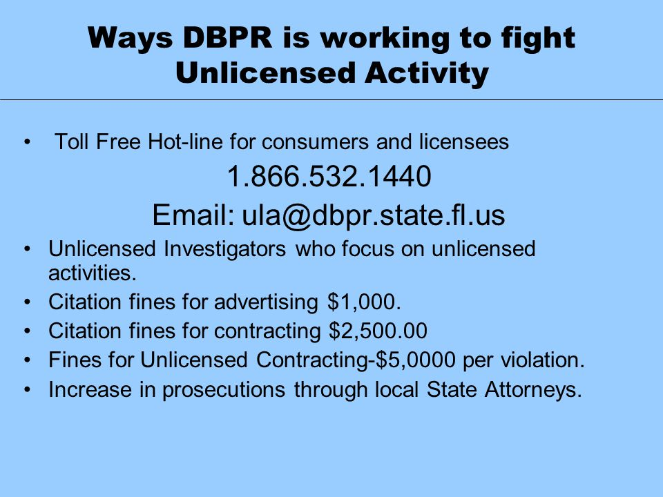 Ways DBPR is working to fight Unlicensed Activity