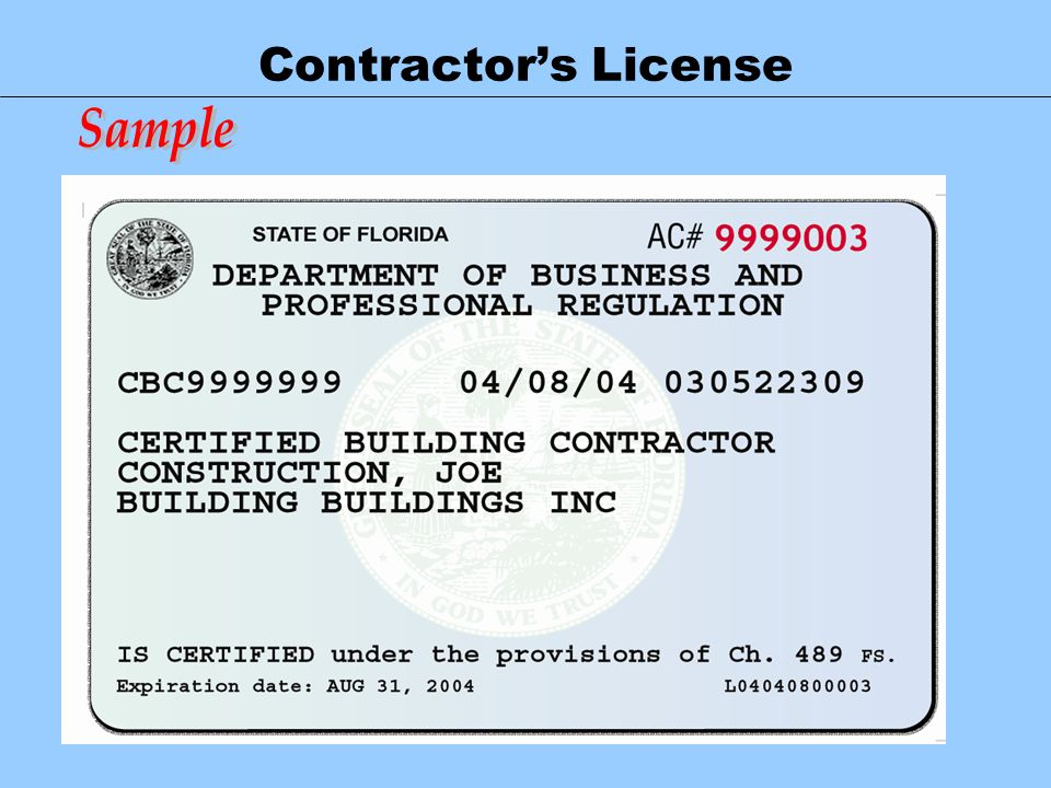 Contractor's License Sample