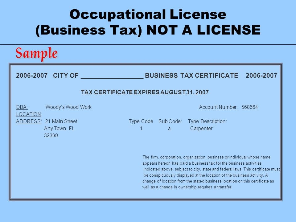 Occupational License (Business Tax) NOT A LICENSE