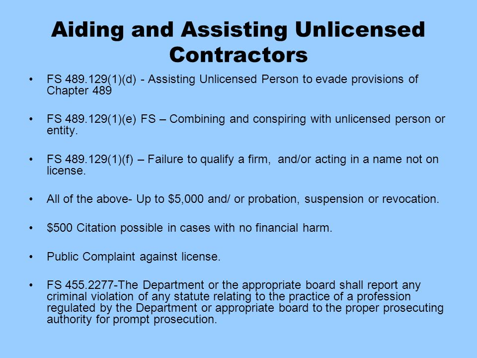 Aiding and Assisting Unlicensed Contractors