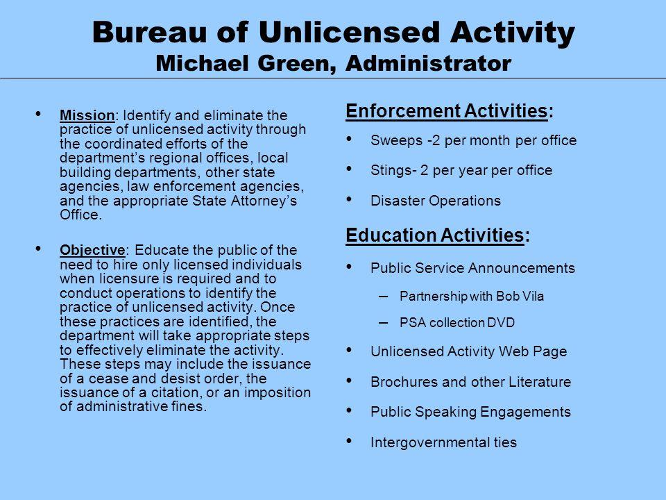 Bureau of Unlicensed Activity Michael Green, Administrator
