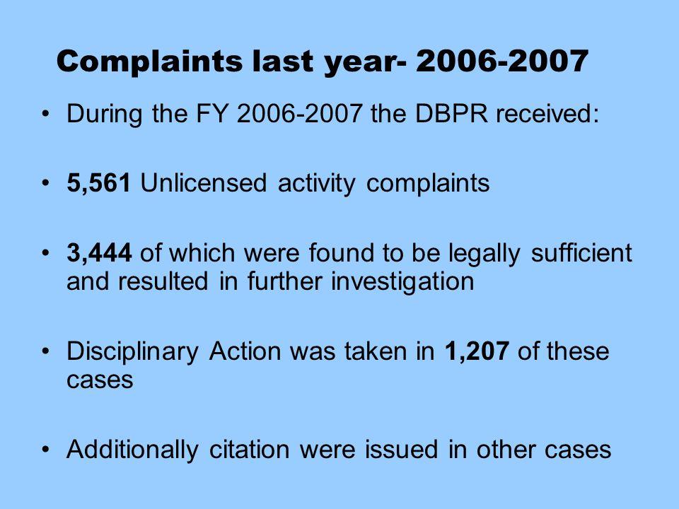 Complaints last year- 2006-2007