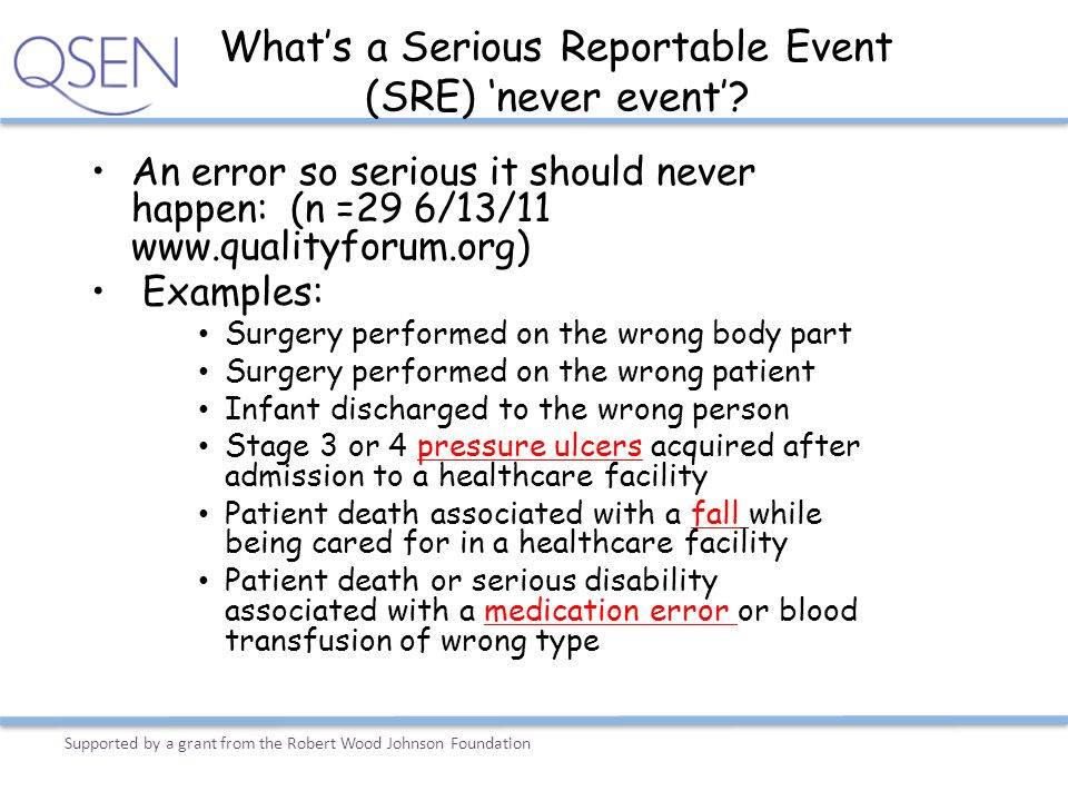 What's a Serious Reportable Event (SRE) 'never event'