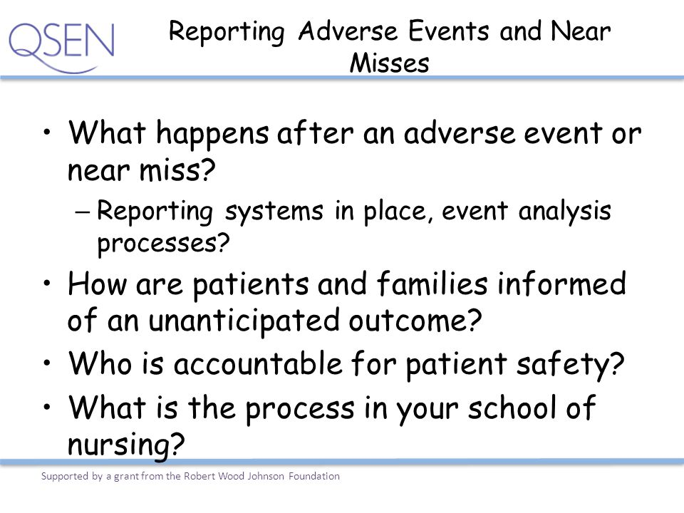 Reporting Adverse Events and Near Misses