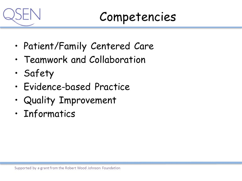 Competencies Patient/Family Centered Care Teamwork and Collaboration