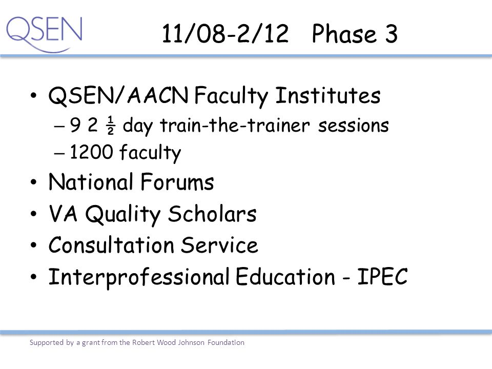 11/08-2/12 Phase 3 QSEN/AACN Faculty Institutes National Forums