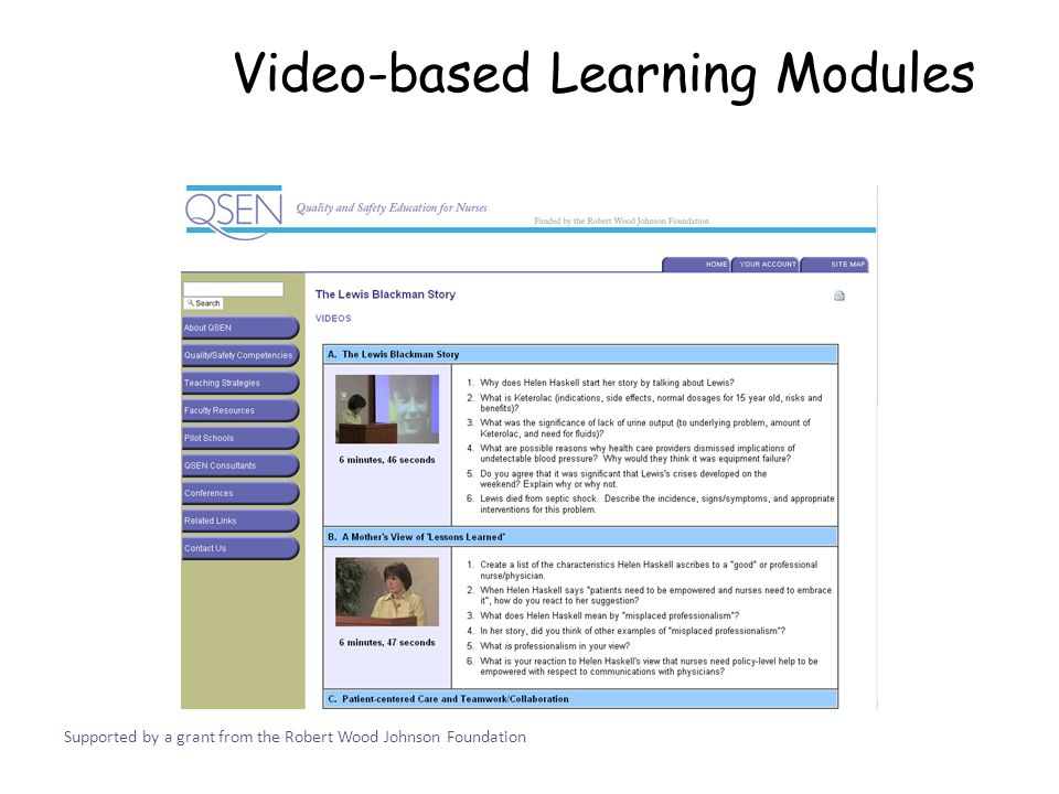 Video-based Learning Modules