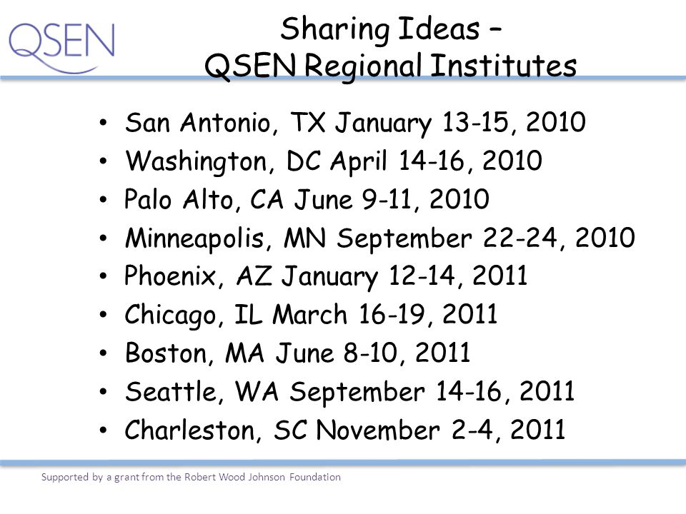 Sharing Ideas – QSEN Regional Institutes