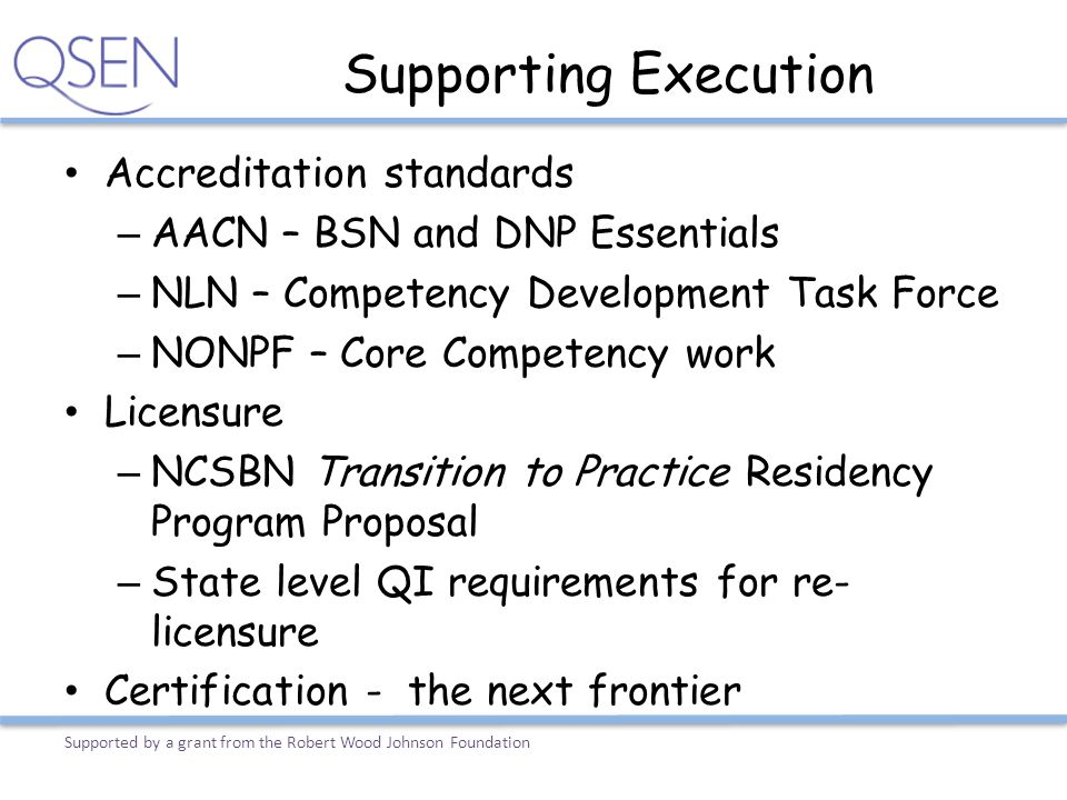 Supporting Execution Accreditation standards