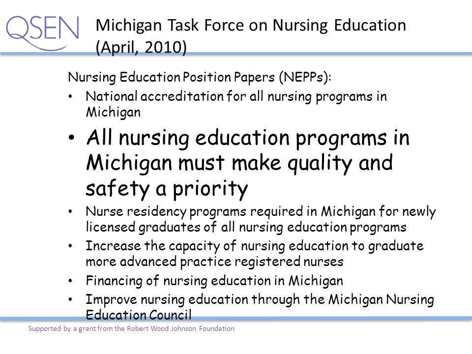 Michigan Task Force on Nursing Education (April, 2010)