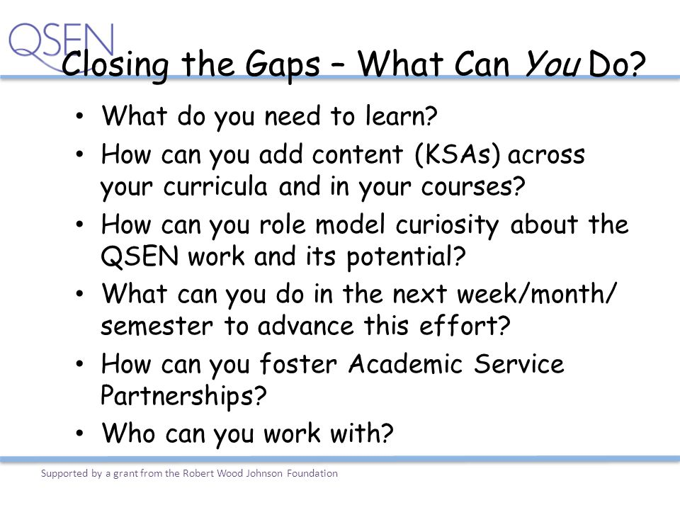 Closing the Gaps – What Can You Do