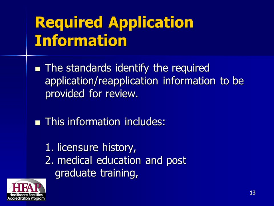 Required Application Information