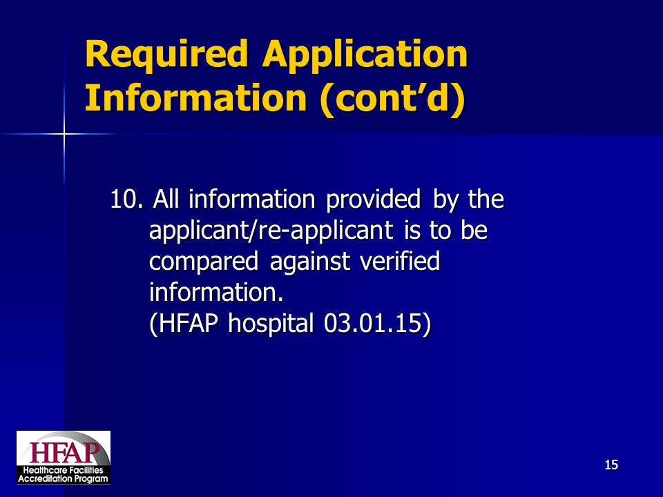 Required Application Information (cont'd)