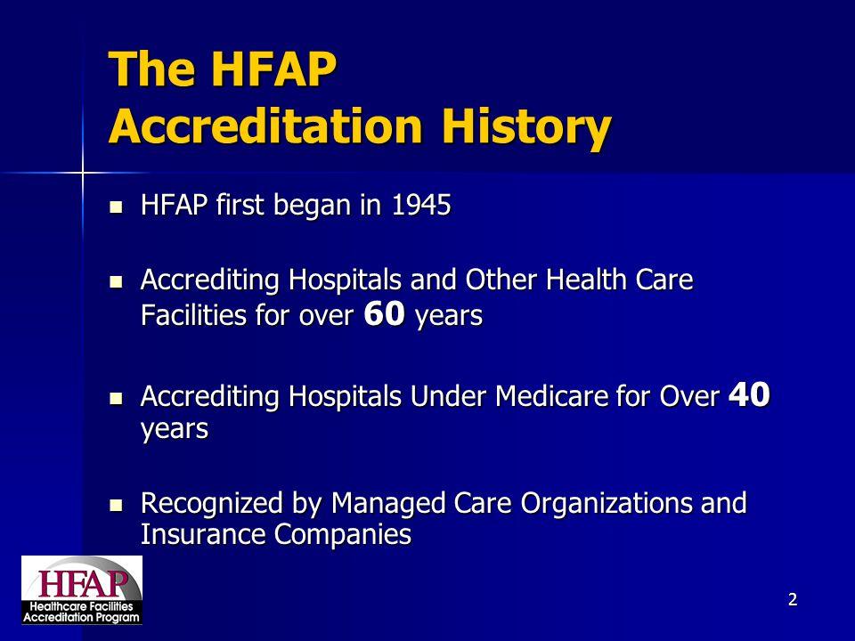 The HFAP Accreditation History