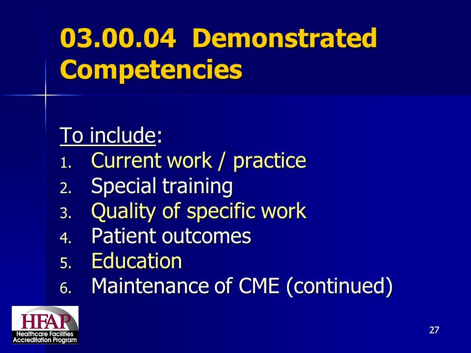 03.00.04 Demonstrated Competencies