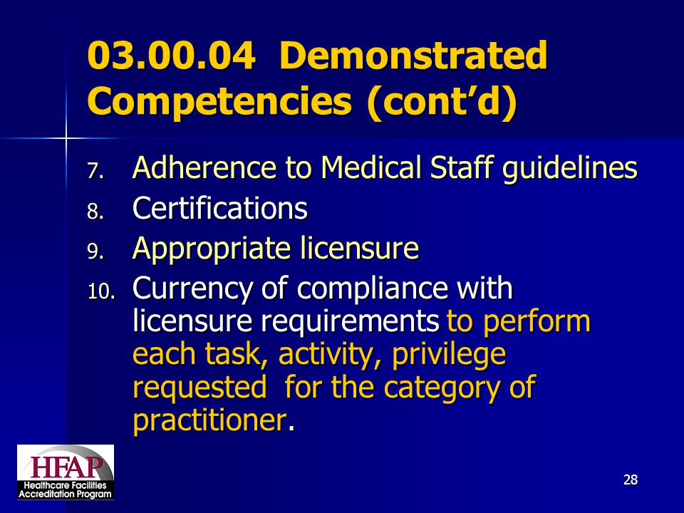 03.00.04 Demonstrated Competencies (cont'd)