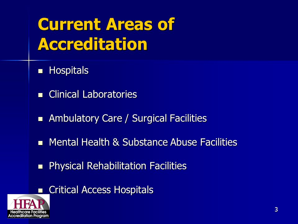 Current Areas of Accreditation