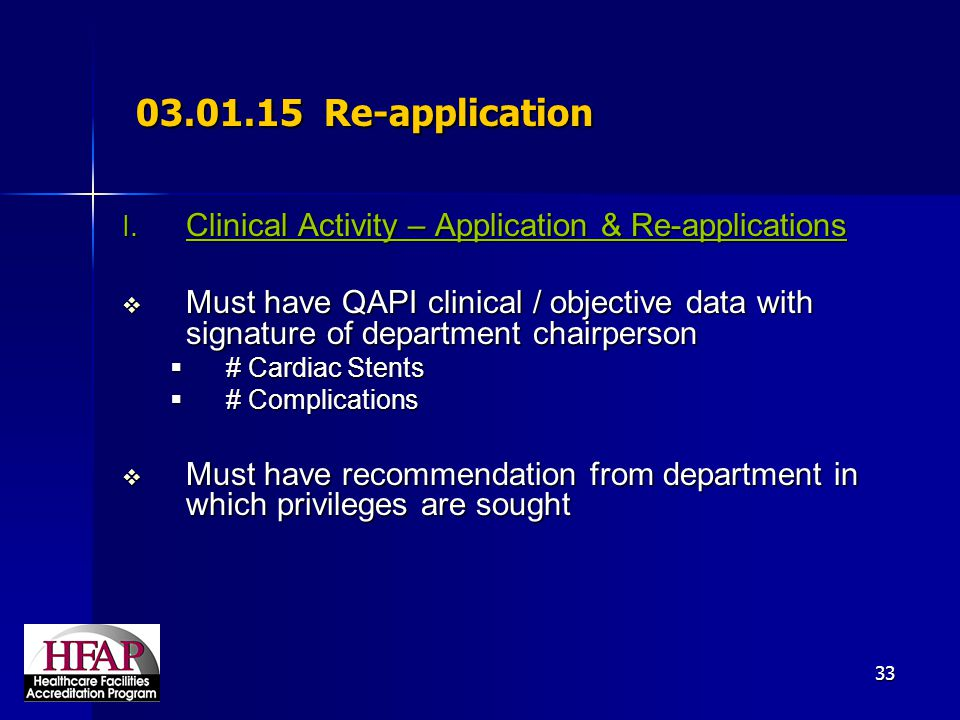 03.01.15 Re-application Clinical Activity – Application & Re-applications.