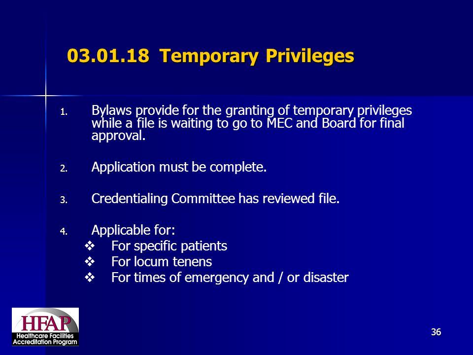 03.01.18 Temporary Privileges