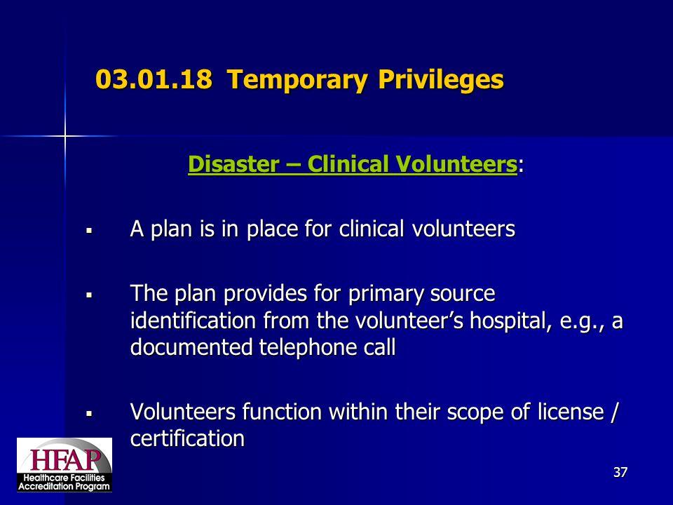 Disaster – Clinical Volunteers: