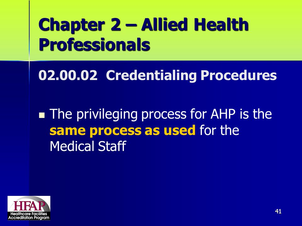 Chapter 2 – Allied Health Professionals