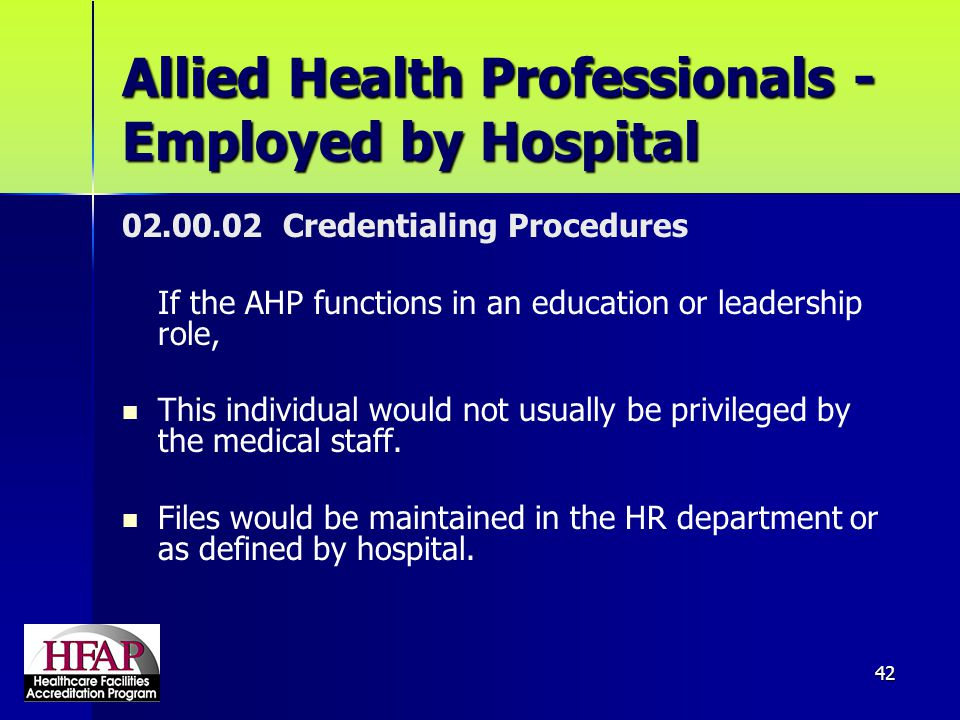 Allied Health Professionals - Employed by Hospital