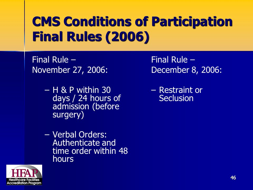 CMS Conditions of Participation Final Rules (2006)