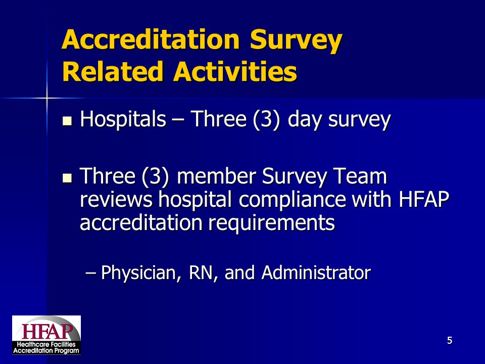 Accreditation Survey Related Activities