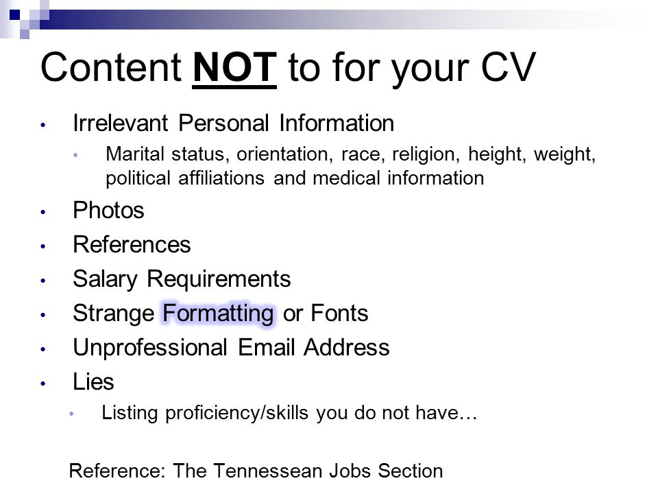 Content NOT to for your CV