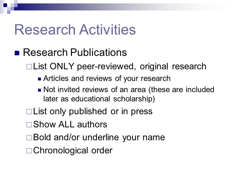 Research Activities Research Publications