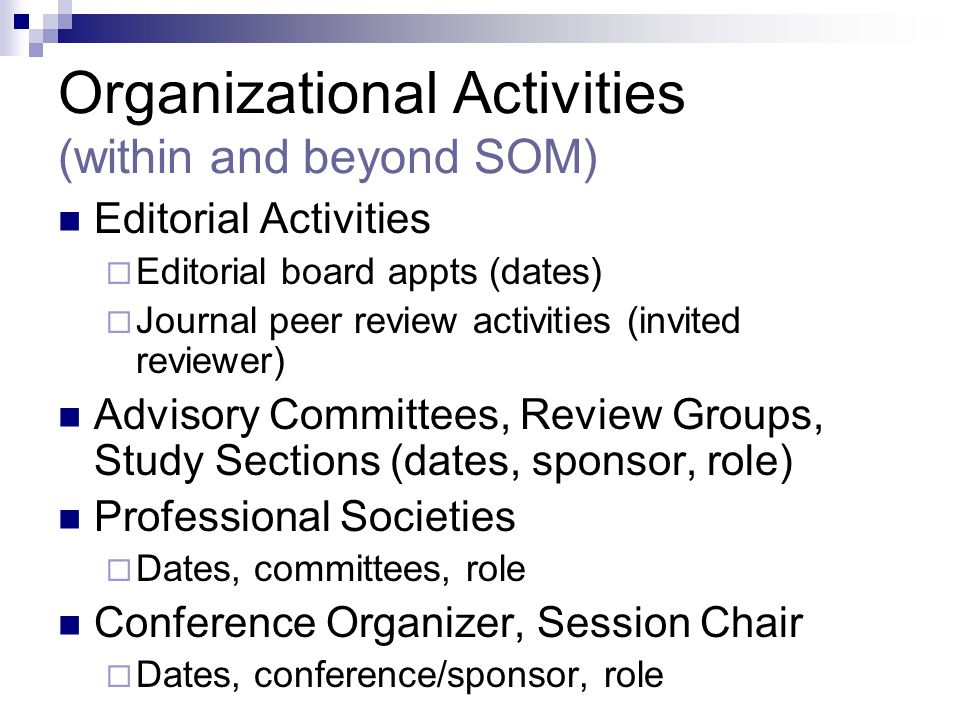 Organizational Activities (within and beyond SOM)