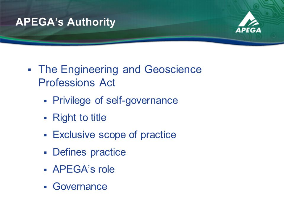 The Engineering and Geoscience Professions Act