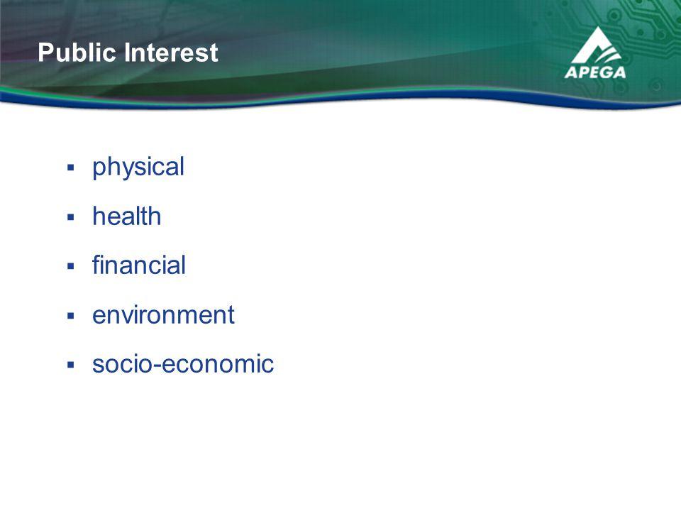 Public Interest physical health financial environment socio-economic