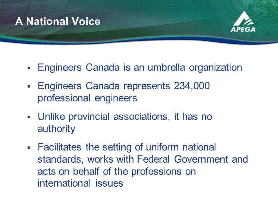 A National Voice Engineers Canada is an umbrella organization