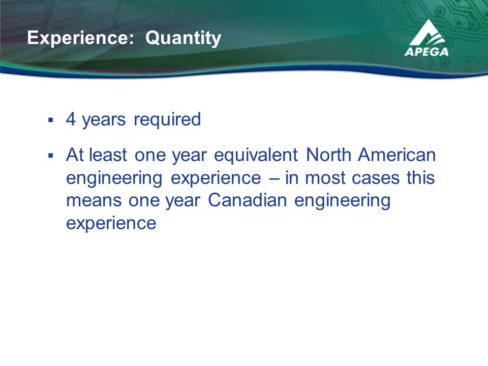 Experience: Quantity 4 years required.