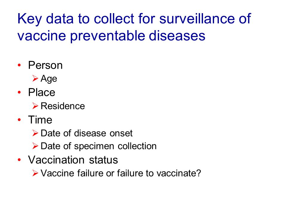 Additional data for diseases of special interest or being eliminated