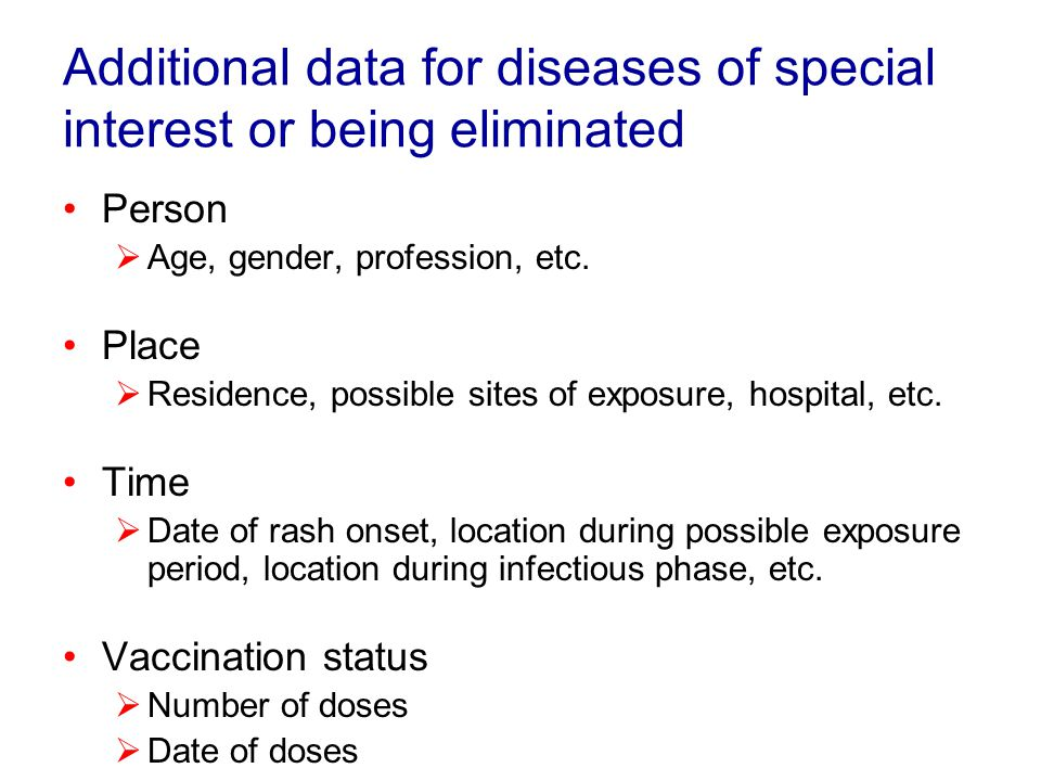 Disease incidence Main sources of data Other sources