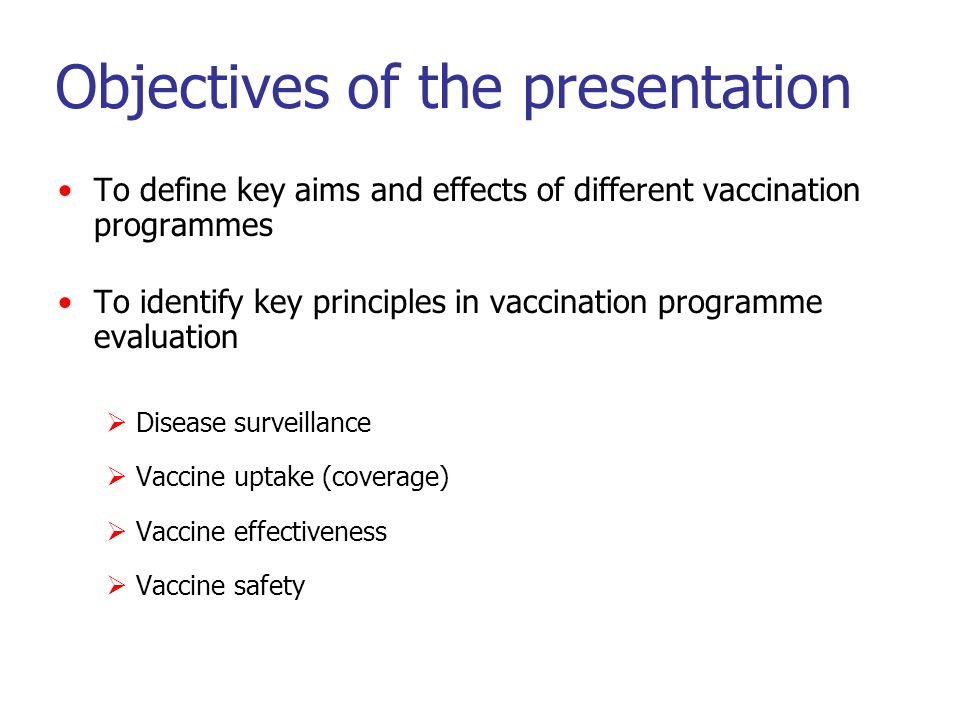 Aims of vaccination programmes