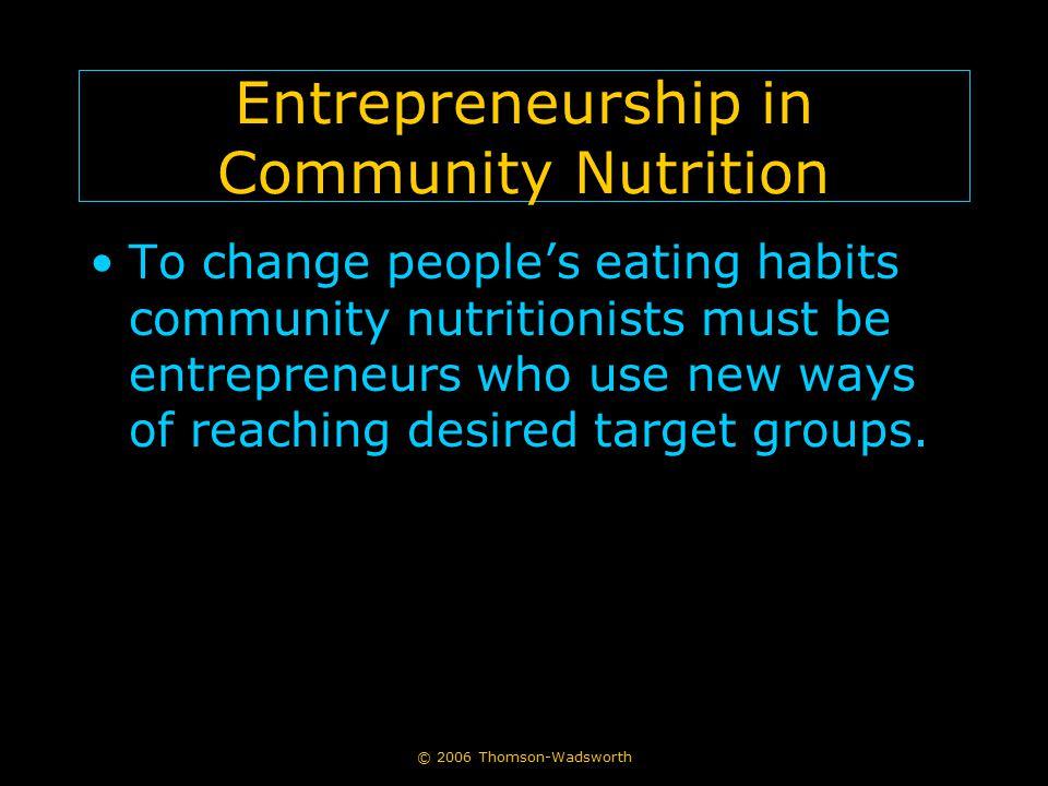Entrepreneurship in Community Nutrition