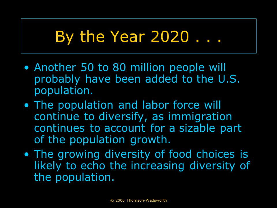 By the Year 2020 . . . Another 50 to 80 million people will probably have been added to the U.S. population.