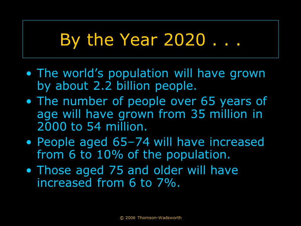 By the Year 2020 . . . The world's population will have grown by about 2.2 billion people.