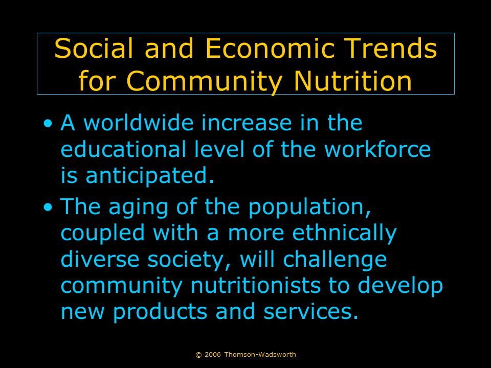 Social and Economic Trends for Community Nutrition